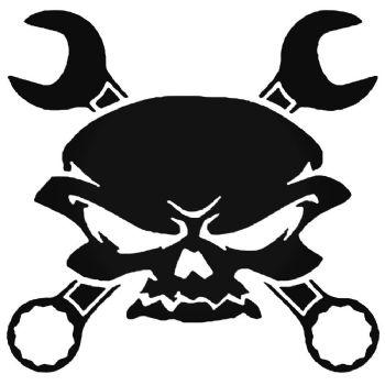 Skull Crossed Wrenches Car Stickers Motorbike Vinyl Decals Fairings Panniers